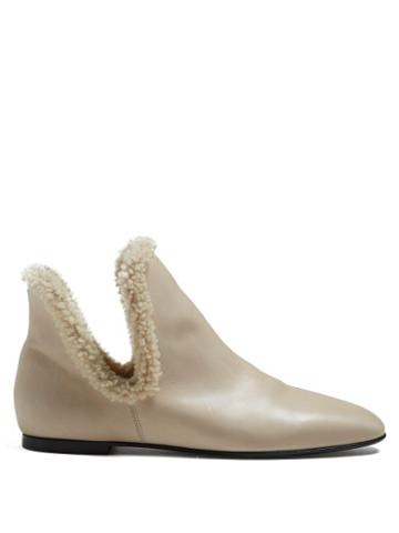 Matchesfashion.com The Row - Eros Leather Ankle Boots - Womens - Cream