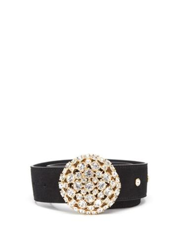 Matchesfashion.com Alessandra Rich - Crystal-buckle Suede Belt - Womens - Black