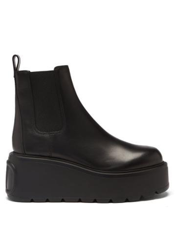 Valentino Garavani - Uniqueform V-logo Leather Platform Boots - Womens - Black