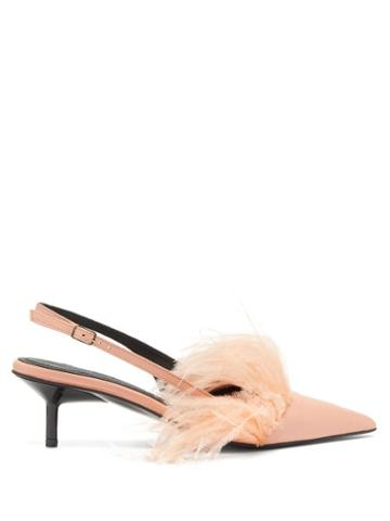 Matchesfashion.com Marques'almeida - Feather Trim Leather Slingback Pumps - Womens - Pink