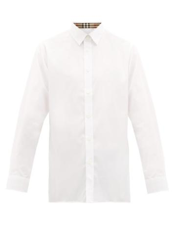Matchesfashion.com Burberry - Serjeants Logo Embroidered Cotton Blend Shirt - Mens - White