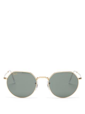 Ray-ban - Jack Flat-top Round Metal Sunglasses - Womens - Green Gold