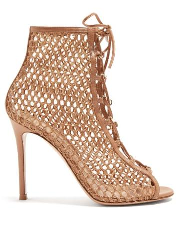 Matchesfashion.com Gianvito Rossi - Cage 105 Mesh And Leather Ankle Boots - Womens - Nude