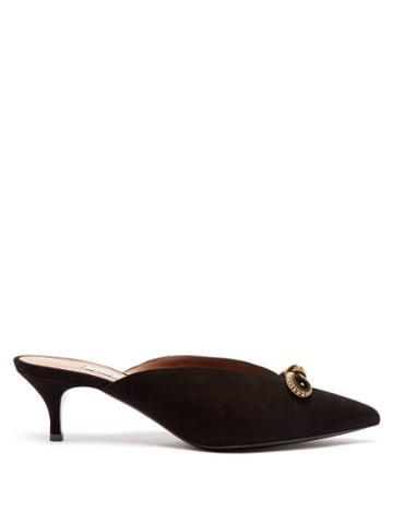 Matchesfashion.com Tabitha Simmons - Joyce Crystal Embellished Bow Suede Mules - Womens - Black