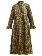 Matchesfashion.com Ganni - Bijou Leopard Print Cotton Midi Dress - Womens - Leopard