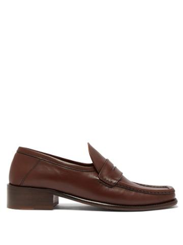 Matchesfashion.com By Far - Britney Leather Loafers - Womens - Dark Brown