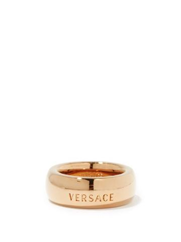 Matchesfashion.com Versace - Logo-engraved Metal Ring - Womens - Gold