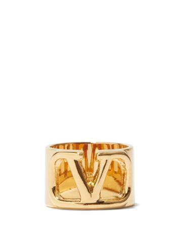 Valentino Garavani - V-logo Cutout Ring - Womens - Gold