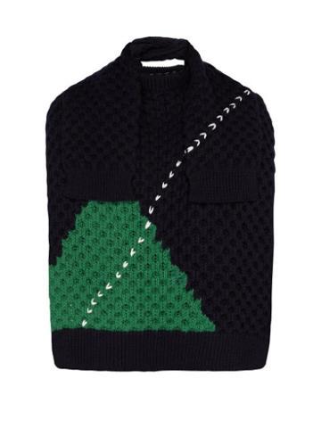 Matchesfashion.com Raf Simons - Sweater Inspired Wool Scarf - Mens - Dark Navy