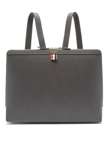 Thom Browne - Tricolour-stripe Pebbled-leather Backpack - Mens - Grey