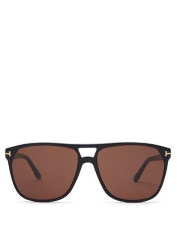 Matchesfashion.com Tom Ford Eyewear - Shelton Tortoiseshell Aviator Sunglasses - Mens - Black