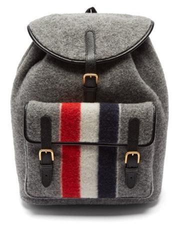 Thom Browne - Tricolour-stripe Wool-blend Felt Backpack - Mens - Grey