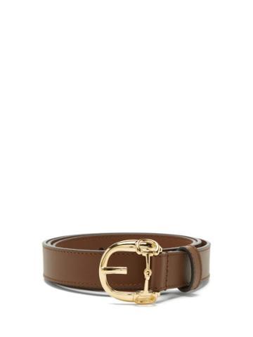 Matchesfashion.com Gucci - Horsebit Leather Belt - Mens - Brown