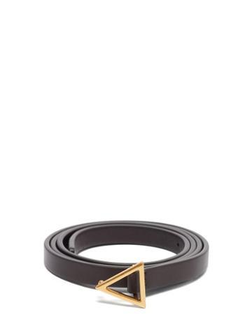 Matchesfashion.com Bottega Veneta - Triangle-buckle Leather Belt - Womens - Brown Gold