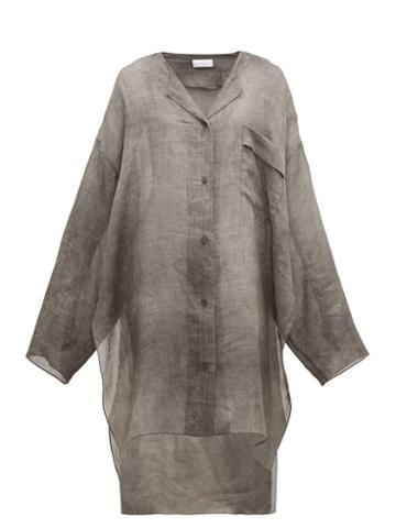 Matchesfashion.com Raey - Sheer Linen Shirtdress - Womens - Grey