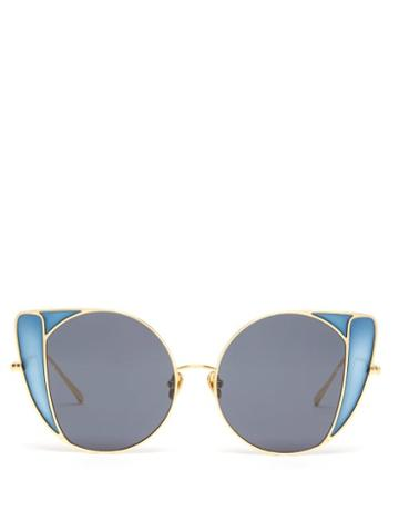 Matchesfashion.com Linda Farrow - Austin Butterfly Frame Metal Sunglasses - Womens - Blue Gold