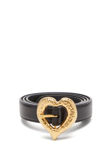 Matchesfashion.com Saint Laurent - Hammered-heart Leather Belt - Womens - Black