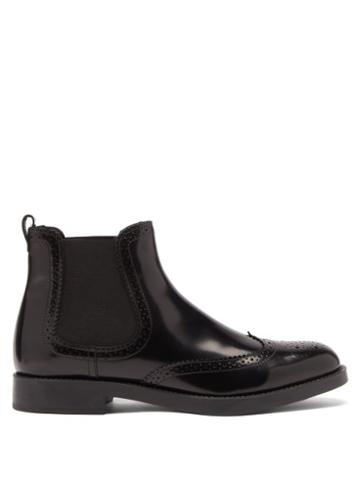 Matchesfashion.com Tod's - Brogue-perforated Leather Chelsea Boots - Womens - Black