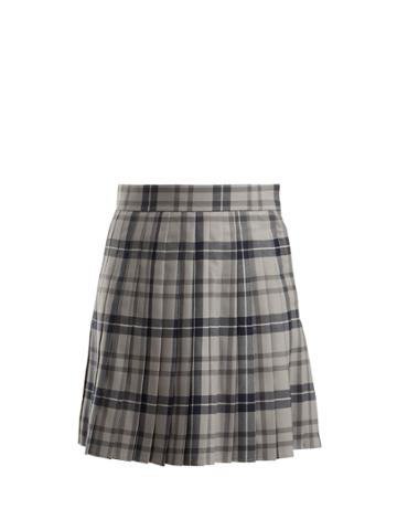 Thom Browne Checked Pleated Wool-blend Skirt