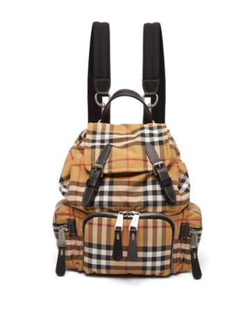 Matchesfashion.com Burberry - Vintage Check Mini Canvas Backpack - Womens - Brown Multi