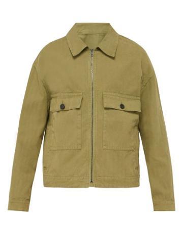 Matchesfashion.com Raey - Boxy Herringbone Denim Jacket - Mens - Khaki