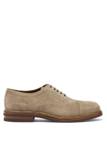 Matchesfashion.com Brunello Cucinelli - Suede Oxford Shoes - Mens - Brown