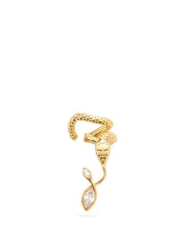 Matchesfashion.com Alan Crocetti - Nashash Crystal & Gold-plated Snake Ear Cuff - Mens - Gold