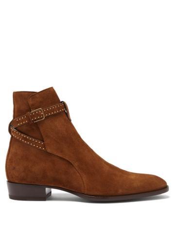 Matchesfashion.com Saint Laurent - Wyatt Studded Point-toe Suede Boots - Mens - Brown