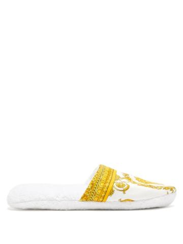 Matchesfashion.com Versace - Barocco Print Cotton Terry Slippers - Mens - White Gold