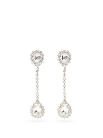 Matchesfashion.com Alessandra Rich - Crystal-embellished Drop Clip Earrings - Womens - Crystal
