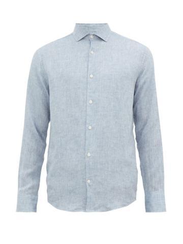 Matchesfashion.com Frescobol Carioca - Button Down Linen Shirt - Mens - Blue