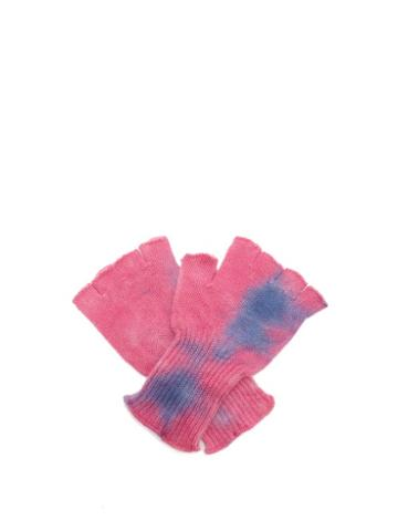 Matchesfashion.com The Elder Statesman - Tie Dye Fingerless Cashmere Gloves - Womens - Blue Multi