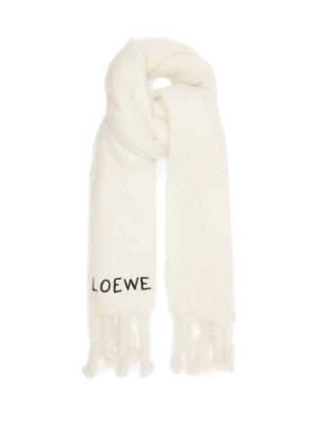 Loewe - Logo-embroidered Mohair-blend Scarf - Mens - White