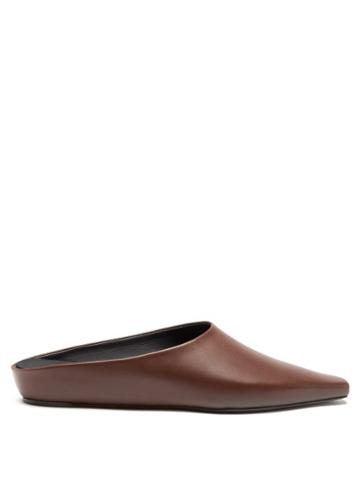 Ladies Shoes Neous - Alba Point-toe Leather Mules - Womens - Brown