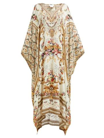 Matchesfashion.com Camilla - Olympe Ode Print Silk Kaftan - Womens - White Print