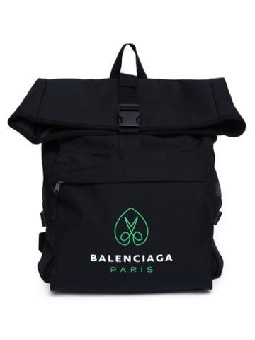 Balenciaga - Logo-print Canvas Backpack - Mens - Black Green