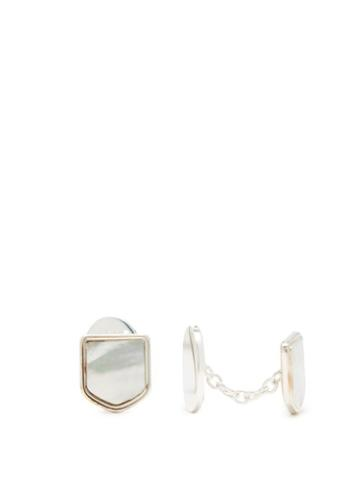 Matchesfashion.com Maison Margiela - Mother Of Pearl Sterling Silver Cufflinks - Mens - Silver Multi