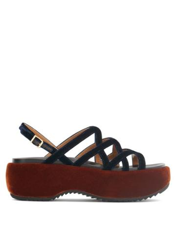 Matchesfashion.com Marni - Velvet And Leather Flatform Sandals - Womens - Navy Multi
