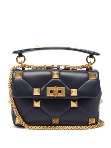 Valentino Garavani - Roman Stud Medium Quilted-leather Shoulder Bag - Womens - Navy
