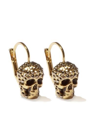 Matchesfashion.com Alexander Mcqueen - Crystal-pav Skull Earrings - Womens - Gold