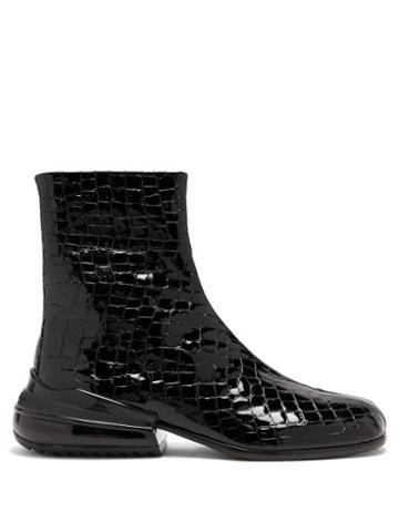 Matchesfashion.com Maison Margiela - Tabi Split-hoe Crocodile-effect Leather Boots - Mens - Black