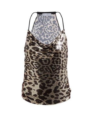 Matchesfashion.com Paco Rabanne - Leopard Print Tie Back Chain Top - Womens - Leopard