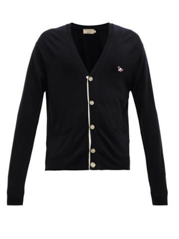 Matchesfashion.com Maison Kitsun - Fox Embroidered Virgin Wool Cardigan - Mens - Black