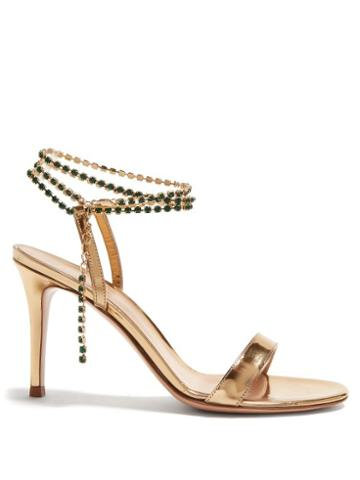 Matchesfashion.com Gianvito Rossi - Gems 85 Crystal Embellished Leather Sandals - Womens - Gold
