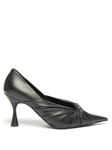 Matchesfashion.com Balenciaga - Drapy Pointed Wrapped-leather Pumps - Womens - Black