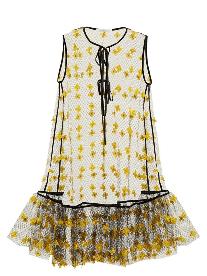 Cecilie Bahnsen Aline Floral-embellished Sheer Dress