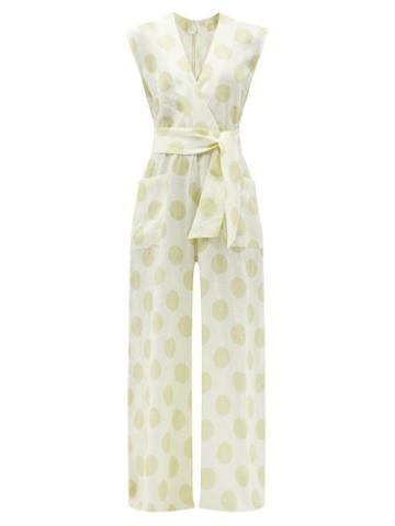 Matchesfashion.com Cala De La Cruz - Madeline Polka-dot Linen Wide-leg Jumpsuit - Womens - White Multi