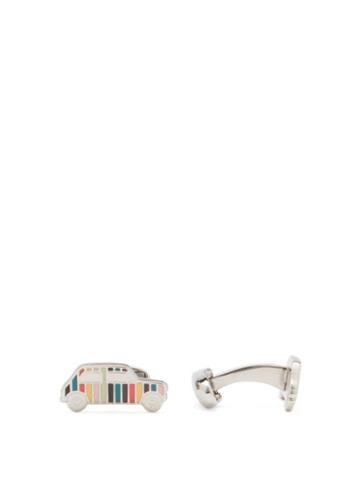 Matchesfashion.com Paul Smith - Mini-car Enamelled Artist-stripe Cufflinks - Mens - Silver Multi