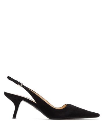 Matchesfashion.com Prada - Squared Point Toe Slingback Suede Pumps - Womens - Black