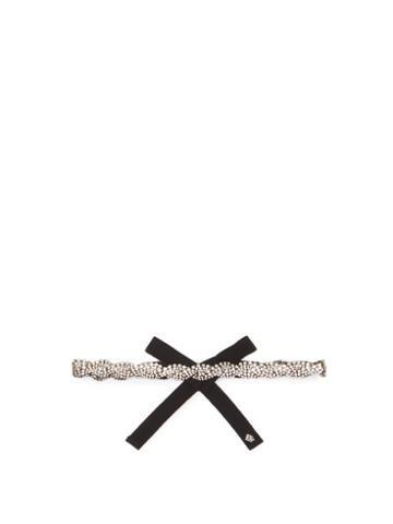 Matchesfashion.com Rosantica - Chevron Crystal-embellished Ribbon Headband - Womens - Black Multi